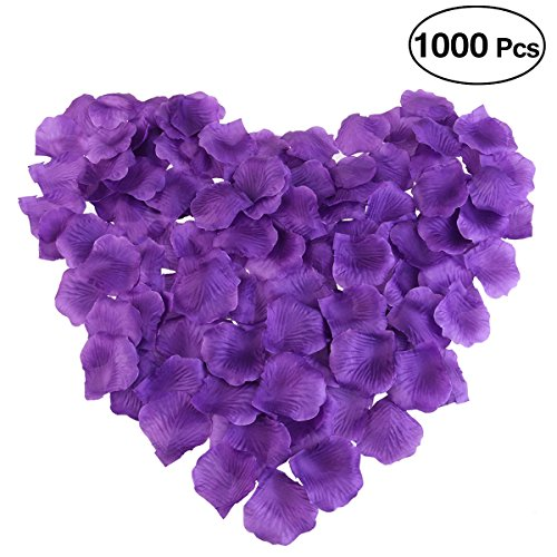 PIXNOR 1000pcs Silk Rose Petals Decorations for Wedding Party (Purple)]()