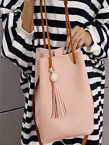 Borlas Bolsos Un Hombro Yesmile Embrague Bolsa Solo Bandolera 1set Cuero Moda De Cubo Pink Mujer ❤️ 1YrSg1q