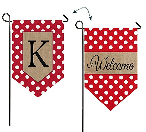 - Evergreen Enterprises 14B3477KFB Polka-Dot Welcome Monogram Letter K Garden Flag