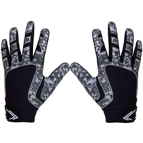 Pure Athlete Football Receiver Gloves - Elite-Stick Silicone Gripping Technology - Adult/Youth (Black Digital Camo, Adult Large)