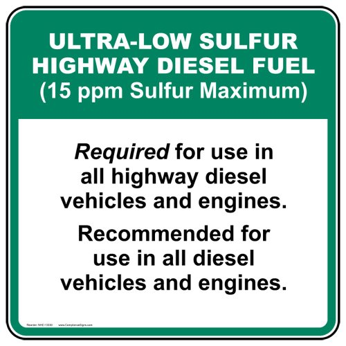 - ComplianceSigns Vinyl Diesel Label, 5 x 5 in. with English, White 4-Pack
