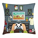 CAROLJU Gamer Throw Pillow Cushion Cover, Gaming Guy in His Flat with Diplomas Loud Speakers Boxing Gloves Jump Rope and Trophy, Decorative Square Accent Pillow Case, 18 X 18 Inches, Multicolor