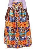Jaycargogo Women Summer African Floral High Waist A Line Party Long Skirts 2 2XL