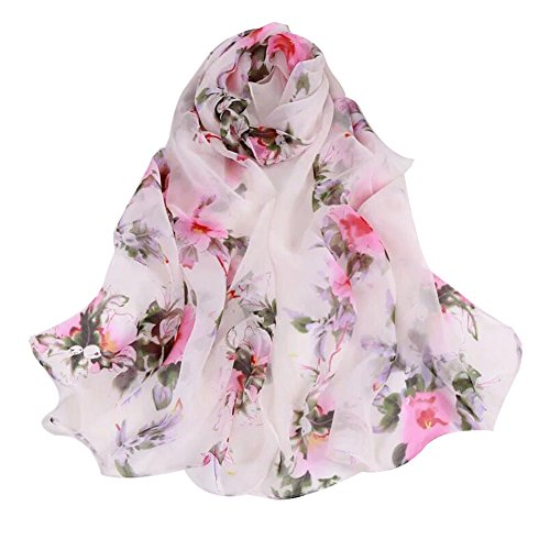 Women's 100% Chiffon Scarf Neck Fashionable Printing Country Style Lightweight scarves for Ladies and Girls (White) ()