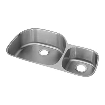 a12adc93fb Elkay Lustertone ELUH362110R Offset 60/40 Double Bowl Undermount Stainless  Steel Kitchen Sink - Double Bowl Sinks - Amazon.com
