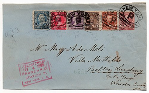 (US Postal Cover 1895 With Six 1894 Series US Postage Stamps Scott #247,249,253,254,255,and 256)