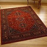 Afghan Rug 9595-1201 Brick Red 100% Fine Wool 1.6m x 2.3m (5'3 x 7'6 approx)
