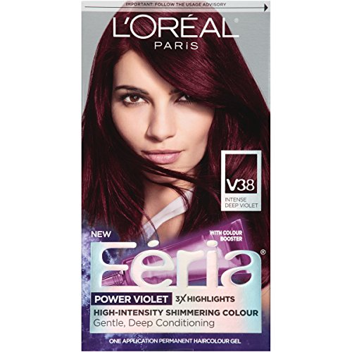 L'Oréal Paris Feria Multi-Faceted Shimmering Permanent Hair Color, V38 Violet Noir (Intense Deep Violet), 1 kit Hair Dye