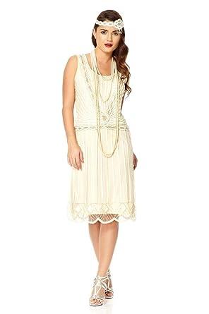 gatsbylady london Charleston Vintage Inspired Flapper Dress in Off White (US14 EU46)