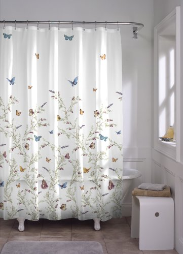 Maytex Garden Flight PEVA Shower Curtain(Butterfly), Multi