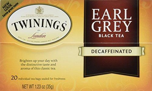 Twinings Decaf Black Tea, Earl Grey, 20 Count Bagged Tea (6 Pack)