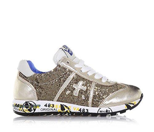 ... Schuh PREMIATA Mädchen mit Glanzleder Goldener der Schnürsenkeln auf  Damen ein Pailletten und Logo aus Zunge ... 298046372c