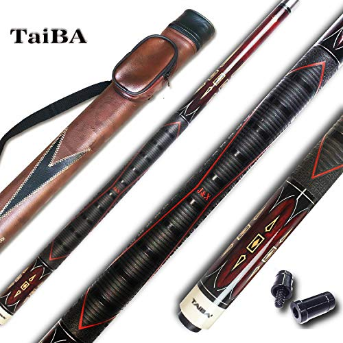 TaiBA 2-Piece Pool Stick with 1x1 Case,13mm Multilayer Leather Tip, 58