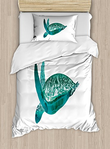 Turtle Duvet Cover Set Twin Size by Lunarable, Tropical Climate Animal Hawaii Fauna Underwater Diving Aqua Reptile, Decorative 2 Piece Bedding Set with 1 Pillow Sham, Jade Green Pale Sea (Tropical Green Sea Turtle)