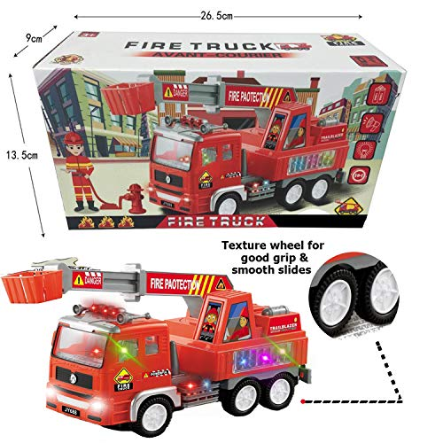 Toysery Truck Toy for Toddler Kids, Fire Truck Toy with Extending Rescue Rotating Ladder Functions, Flashing Lights and Siren Sounds, Battery Operated Automatic Bump & Go Car
