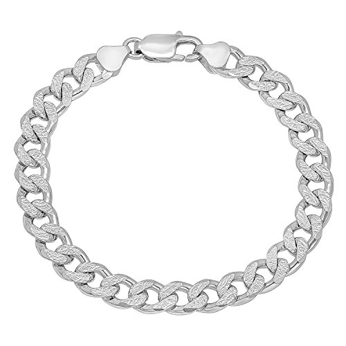 8mm 925 Sterling Silver Italian Crafted Diamond-Cut Cuban Curb Link Bracelet, 8