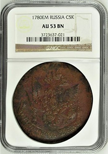 1780 RU Russia Empire 1780 EM Cooper Coin 5 Kopeks Cather 5 Kopeks AU 53 NGC