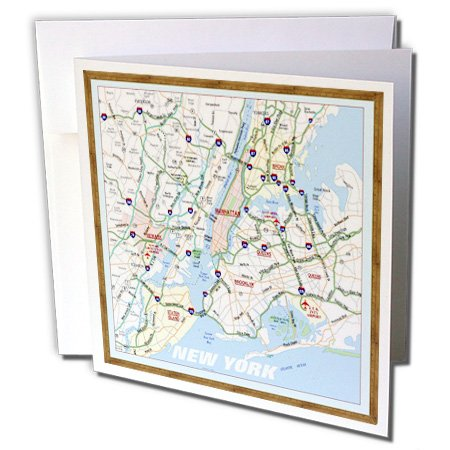 3dRose Framed NYC Boroughs - Greeting Cards, 6 x 6 inches, set of 12 (gc_39024_2) (Best Borough In Nyc)