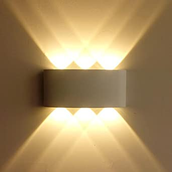 Lightess Apliques de Pared Exterior Lámpara de Pared LED 6W Luz Moderna Impermeable IP65 Iluminación para Pasillo, Escaleras, Blanco Cálido: Amazon.es: Iluminación