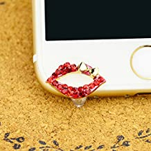 Mavis's Diary® Cute Bling Dust Plug Accessories / Cell Charms / Ear Jack for Iphone 6 Series,Samsung Galaxy S6 Series,Galaxy Note 5,HTC M9,LG G4 and Other 3.5mm Earphone Jack Downward (Sexy Lips)