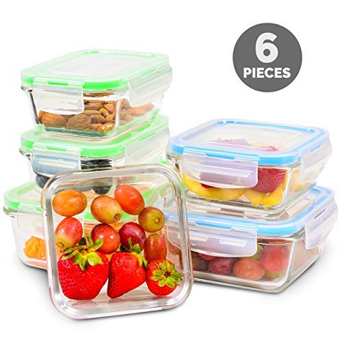 Elacra Glass Meal Prep Containers with Locking Lids [6-Piece] - Leakproof Glass Food Storage Containers for Kitchen Organization and Storage - Microwave, Freezer & Dishwasher Safe Lunch Containers