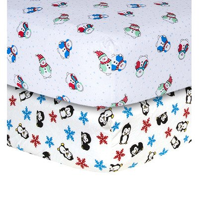 - Trend Lab Snowman and Penguin Print Flannel 2 Piece Crib Sheet Set