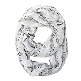 Bowbear Women?s Playful Musical Notes Print Infinity Scarf, White