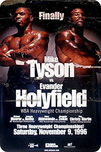 (METAL WALL SIGN Mike Tyson Evander Holyfield POSTER Classic BOX Fight Decor Bed Garage Vintage Rusted)
