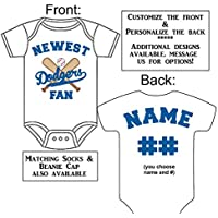 Personalized Custom Made Newest Dodgers Fan Baseball Gerber Onesie Jersey - Baby Announcement Reveal or Shower Gift