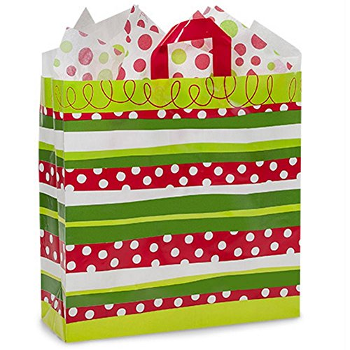 Christmas Stripes Plastic Shopping Bags - Queen Size - 16x6x16in. - 150 Pack by NW