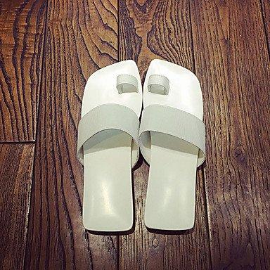 LvYuan Mujer-Tacón Bajo-Confort-Zapatillas y flip-flop-Informal-PU-Negro Blanco Black