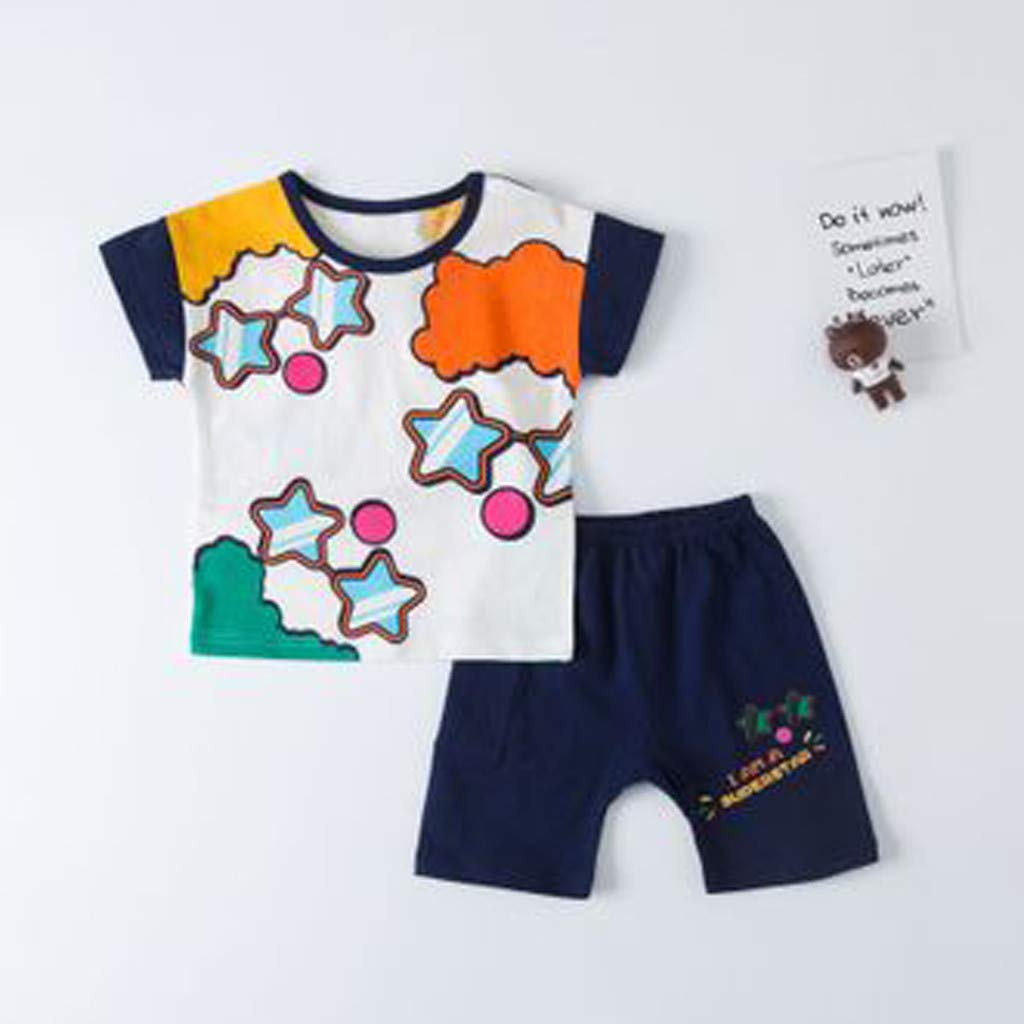 Outique Baby Girls Clothes Sleeveless T-Shirts Shorts Set 2pcs Cute Toddler Little Outfits Clothing