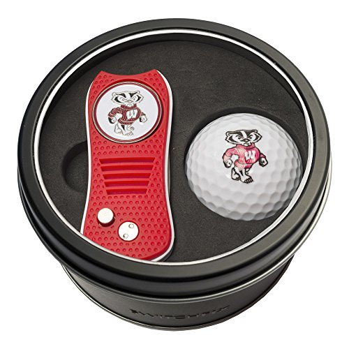 (Team Golf NCAA Wisconsin Badgers Gift Set Switchblade Divot Tool with Double-Sided Magnetic Ball Marker & Golf Ball, Patented Single Prong Design, Less Damage to Greens, Switchblade Mechanism)