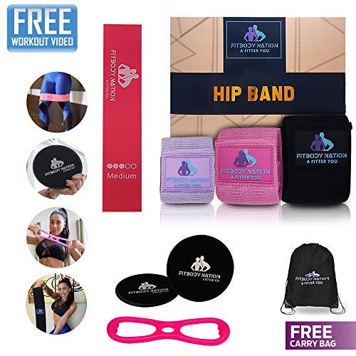 Hip Circle Fabric Booty Bands(3pcs), Mini Resistance Loop(1pc), 8Shape Elastic Butt Lifting Band, Core Sliders Fitness Discs(1pair), A Full Body Workout Set for Women, Online Workout Video, Carry Bag