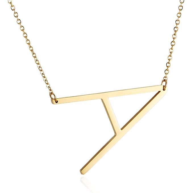Amazon.com: HZMAN - Collar con colgante de letra inicial del ...