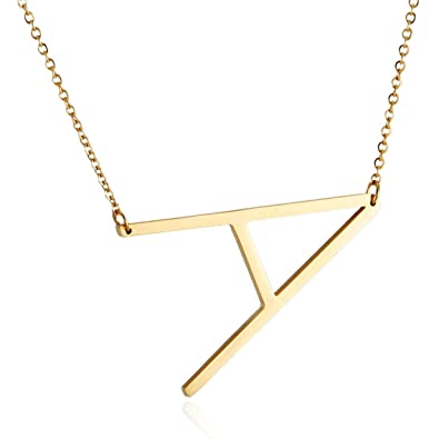 HZMAN Womens Girls Stainless Steel Alphabet Initial Letters Pendant Necklace  2 Colors Gold Silve from A-Z b7da7d39dd