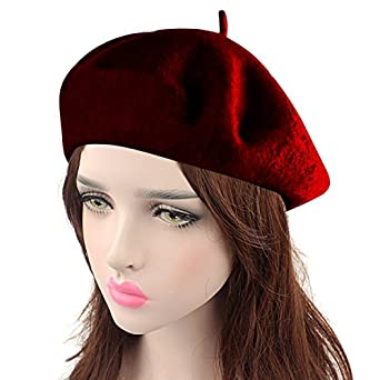 1940s Hats History HowYouth Vintage 1940s French Style Classic Solid Color Art Wool Beret Beanie Hat Unisex Cap $9.99 AT vintagedancer.com