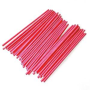 100 Pcs DIY Lollipop Lolly Sugar-loaf Chocolate Cake Pops Paper Sticks Craft Stick Red