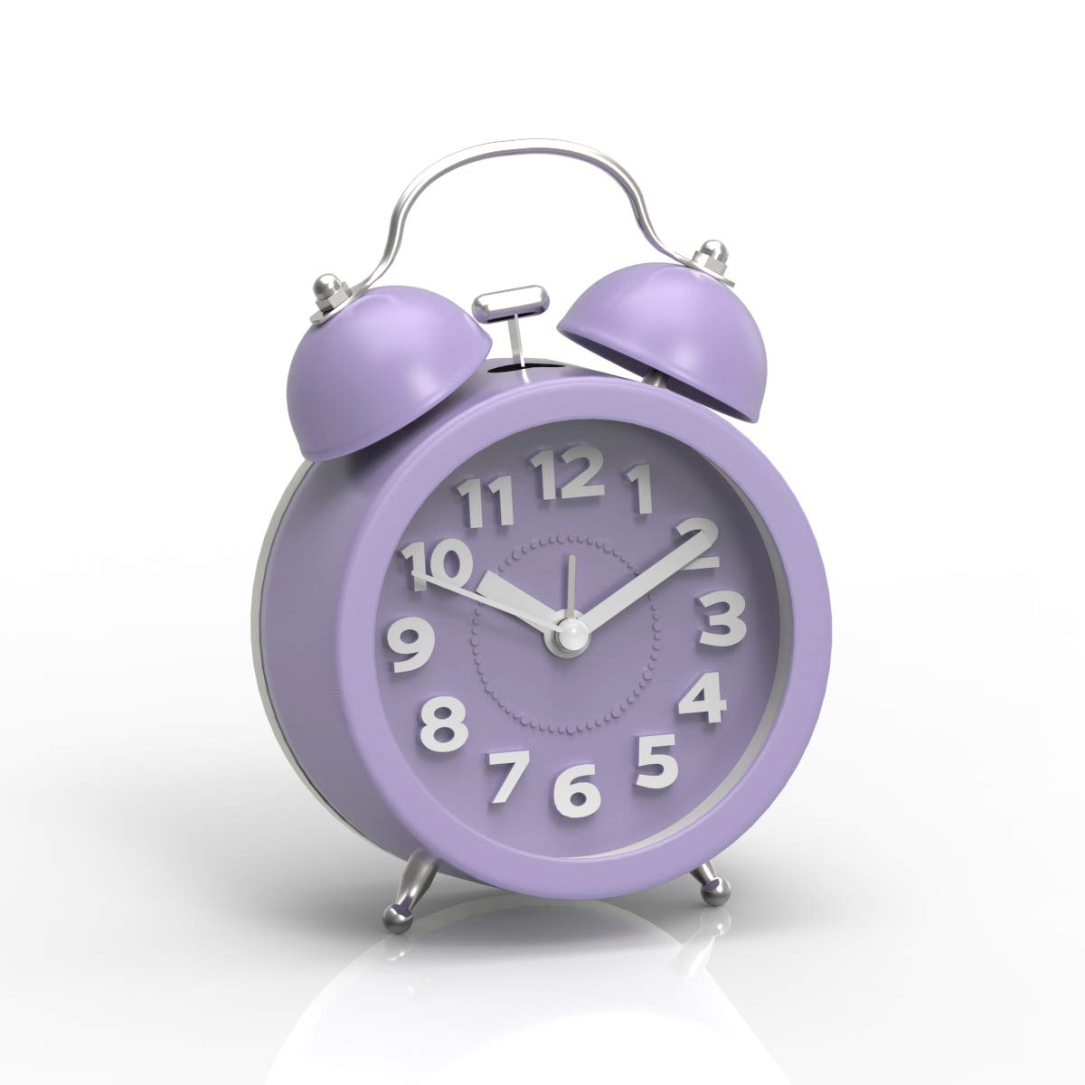 PiLife 3'' Mini Non-ticking Vintage Classic  Analog Alarm Clock with Backlight , Battery Operated Travel Clock, Loud Twin Bell Alarm Clock for Kids( 3D Purple)