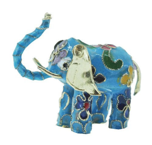 hinky imports cloisonne enamel feng shui elephant statue for fertility wealth and luck. Black Bedroom Furniture Sets. Home Design Ideas