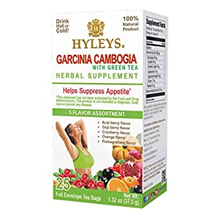 12 Pack - Hyleys Wellness Garcinia Cambogia Green Tea 5 Flavor Assortment - 25 bags (100% Natural, Sugar Free, Gluten Free and Non GMO)