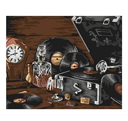 Un viejo tocadiscos bodegones DIY Pintura digital por número Arte ...