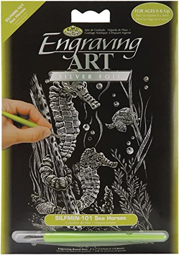 ROYAL BRUSH SILMIN-101 Mini Silver Foil Engraving Art Kit, 5 by 7-Inch, Sea Horses