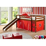 Donco Kids Twin Tent Loft Bed with Slide Finish: Light Espresso, Color: Red