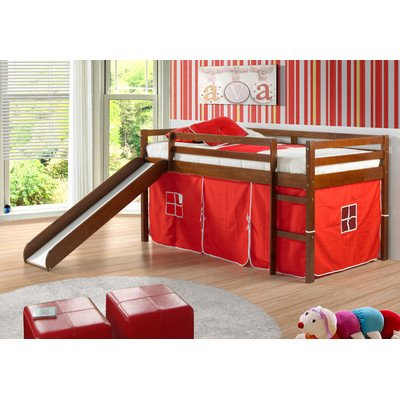 Twin Tent Loft Bed with Slide Finish: Light Espresso, Color: Red - Loft Style Bunk Beds