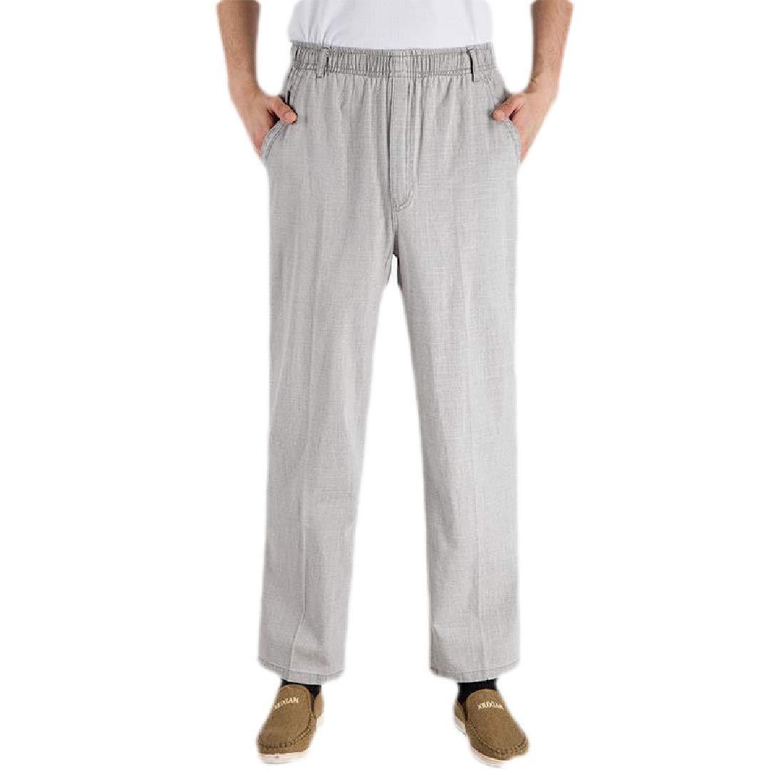 Zantt Men Breathable Linen Comfort Loose Fit Casual High Waist Pants