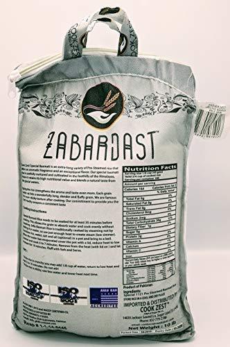 Cook Zest ZABARDAST Special Basmati Rice (Extra Long Grain White Basmati | 10 Lb Bag) - Gluten Free, All-natural Gourmet Rice