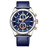 Mens Fashion Casual Watch Waterproof Analogue Quartz Wrist Watches for Man Chronograph Leather Clock