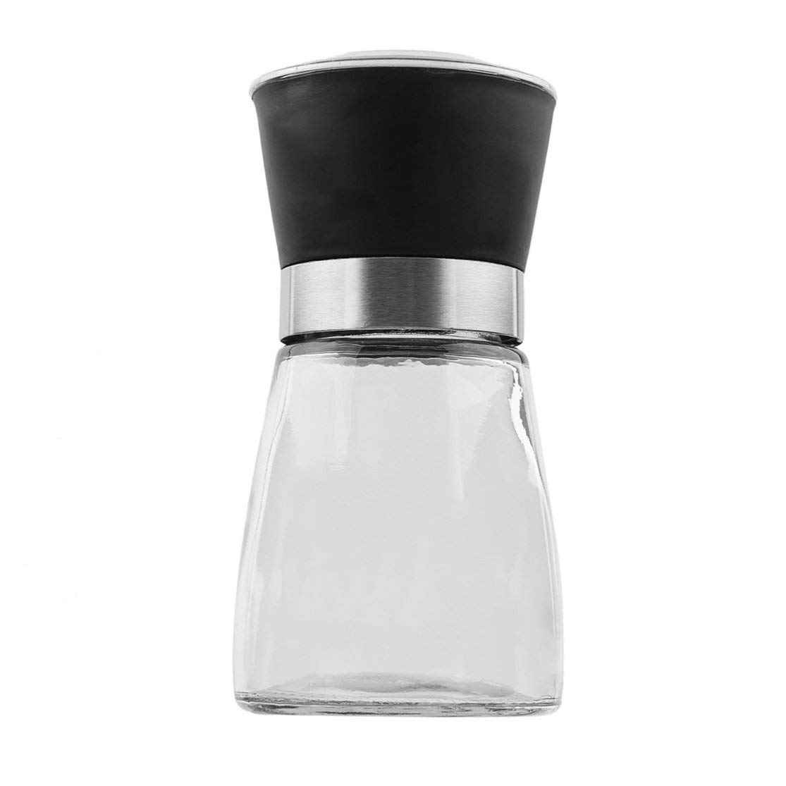 Color:black Hogar creativo Accesorios de cocina Acero inoxidable Vidrio Manual Pimienta Sal Especias Molinillo Pimienta Molinillo Especias Contenedor