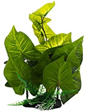 Green Plastic Terrarium Tank Simulation Plant Lifelike Plant Decorative Ornament for Reptiles and Amphibians
